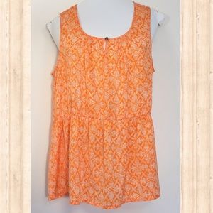 Banana Republic orange and white print tank blouse
